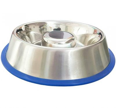 Mr. Peanut's Stainless Steel Interactive Slow Feed Dog Bowl with a Silicone Base: