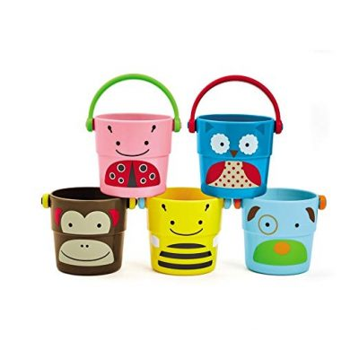 Skip Hop Zoo Bath Stack and Pour Bucket Rinse Cups, Multi: