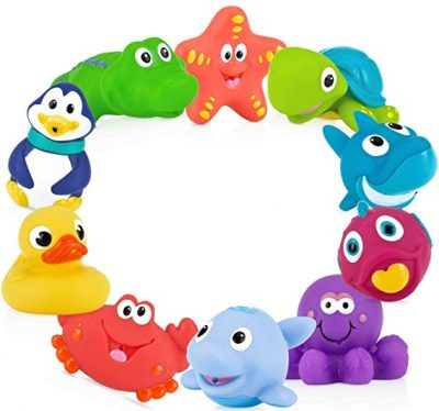 Nuby 10-Pack Little Squirts Fun Bath Toys, Assorted Characters: