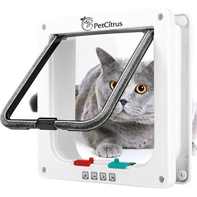 Cat Door Pet Doors by PetCitrus - 4 Way Locking Flap: