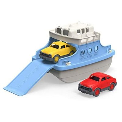 Green Toys Ferry Boat with Mini Cars Bathtub Toy, Blue/White: