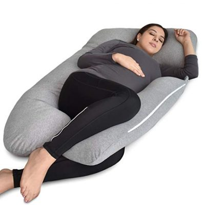 PharMeDoc Pregnancy Pillow, U-Shape Full Body Pillow and Maternity Support with Detachable Extension