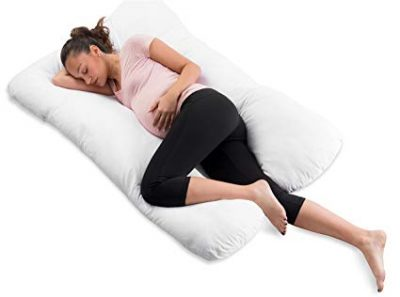 ComfySure Pregnancy Full Body Pillow-U Shaped Maternity and Nursing Cushion with Removable White Cover: