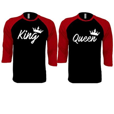 SR King and Queen Handwrite Baseball Shirts Couple Matching Raglan 3/4 Sleeve T-Shirts: