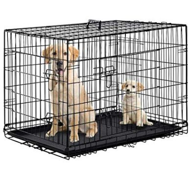Dog Crate Dog Cage Pet Crate 48 Inch Folding Metal Pet Cage Double Door: