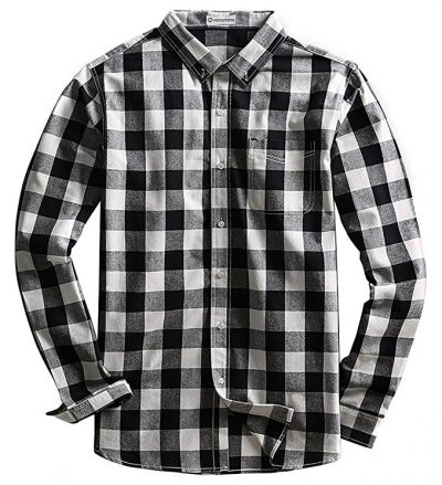 18. MOCOTONO Mens Long Sleeve Plaid Checked Button Down Cotton Casual Shirts:
