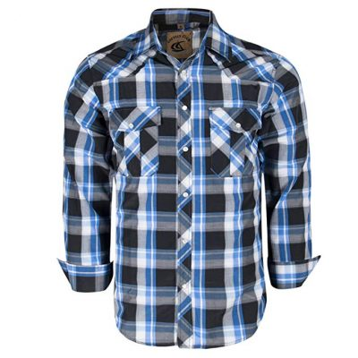 Coevals Club Men's Snap Button Down Plaid Long Sleeve Work Casual Shirt: