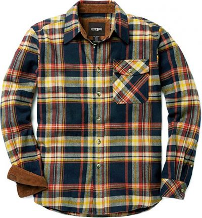 CQR Men's Flannel Long Sleeved Button-Up Plaid 100% Cotton Brushed Shirt HOF110:
