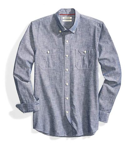 13. Goodthreads Men's Slim-Fit Long-Sleeve Chambray Shirt: