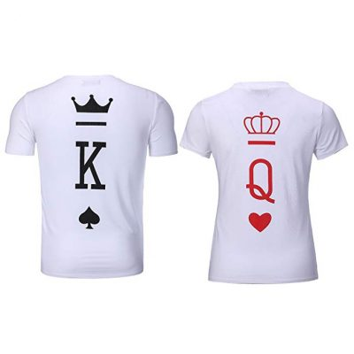 15. Bangerdei King and Queen Couples T-Shirts Anniversary Newlywed Matching Set Tops Valentines Gifts: