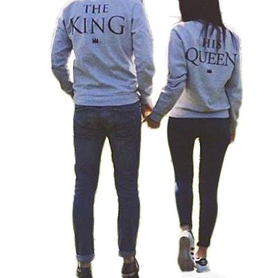 Ezfun Lord and Empress Grey Couple T-Shirt Round Neck Loose Couple Shirt: