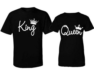 King and Queen Fashion Crowns T-Shirts Black by CRAZYDAISYWORLD: