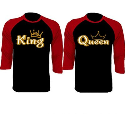 3. SR Gold King Queen Baseball Shirts Couple Matching Raglan 3/4 Sleeve T-Shirts: