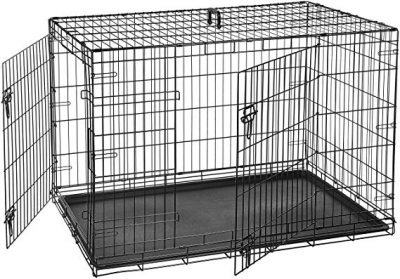 AmazonBasics Single Door & Double Door Folding Metal Dog Crate: