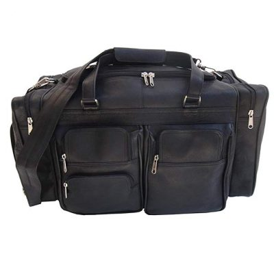 Piel Leather 20In Duffel Bag with Pockets, Black, One Size: