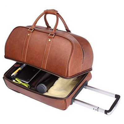 Leathario Men's Leather Luggage Wheeled Duffle, Leather Travel Bag:
