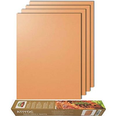 Atiyoc Copper Grill Mat, Set of 4 Non-stick and Heat Resistant Baking Mats: