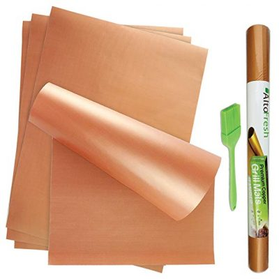 Alto Fresh Large Copper Grill & Bake Mats with Silicone Oil Brush Set of 4: