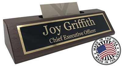 12. Personalized Business Desk Name Plate with Card Holder - Made in USA (Walnut Wood):
