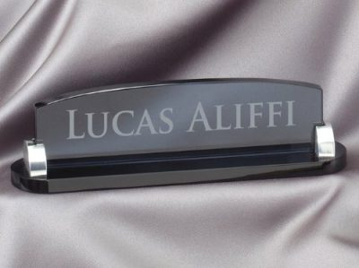 11. Smoked Glass Name Plate with Free Engraving by Hit Trophy: