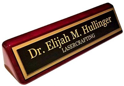 "Executive Name Plate Rosewood Piano Finish Gold Plate 2"" x10"" – Customize:"