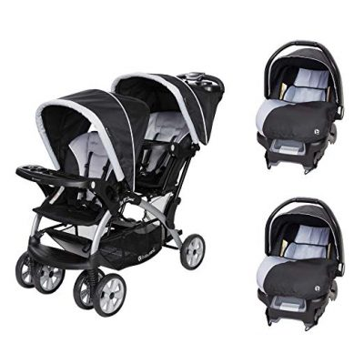Baby Trend Sit N Stand Tandem Stroller + Car Seats (2) Travel System, Stormy:
