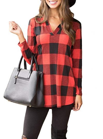 17. PINKMILLY Women Casual Long Sleeve Plaid Tunic Shirt V Neck Pullover Blouse Tops:
