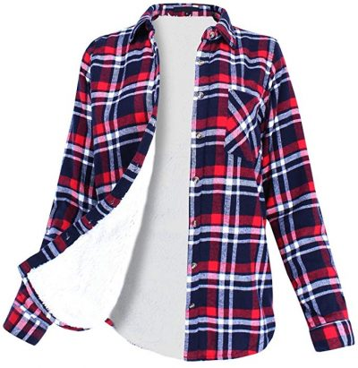 16. Ladies' Code Women's Winter Flannel Plaid Button Down Top with Sherpa Fleece Lining: