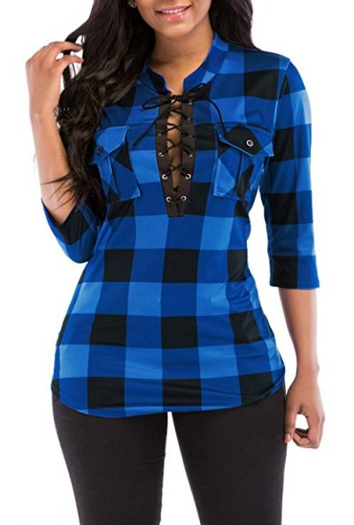 11. KISSMODA Women's Sexy Fitted Plaid Shirt 3/4 Sleeves Blouses V Neck Tie Front Tops with Pockets: