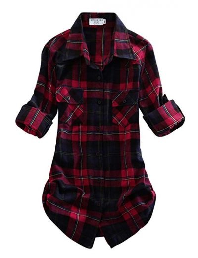Match Women's Long Sleeve Flannel Plaid Shirt: