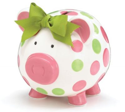 Burton & Burton Girls Pink & Green Circles Pig Piggy Bank: