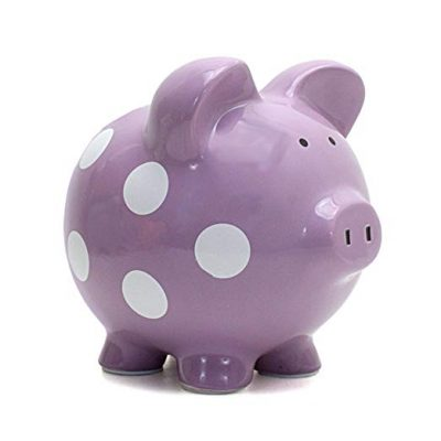 Child to Cherish Ceramic Polka Dot Piggy Bank for Girls, Purple: