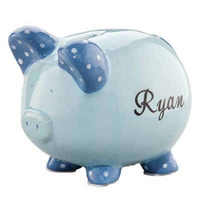 Personalized Ceramic Kids Piggy Bank by Miles Kimball – Blue: