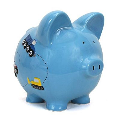 Child to Cherish Ceramic Piggy Bank for Boys, Construction Trucks, Blue: