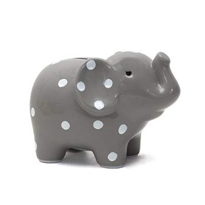 Child to Cherish Ceramic Polka Dot Elephant Piggy Bank, Grey: