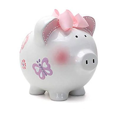 12. Child to Cherish Ceramic Piggy Bank for Girls, Butterfly: