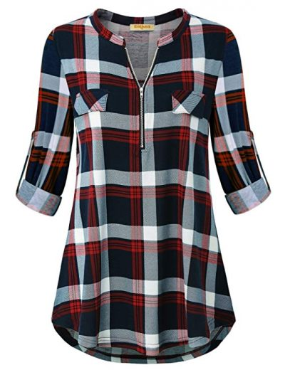 14. Baikea Women's 3/4 Rolled Sleeve Zipped V Neck Plaid Shirt Casual Tunic Blouses: