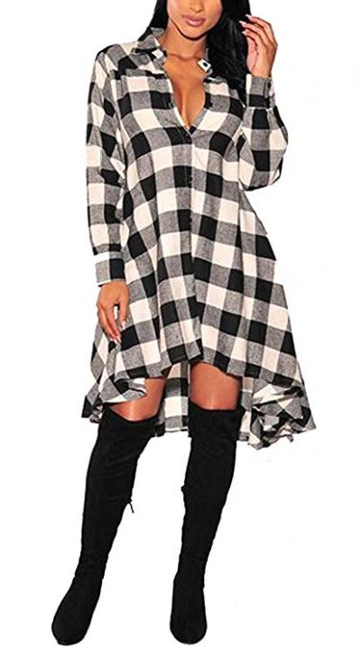 13. OLRAIN Womens New Plaids Irregular Hem Casual Shirt Dress: