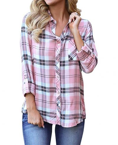 12. Grace Elbe Women's Flannel Collared Long Sleeve Plaid Shirt: