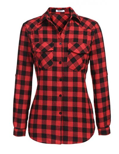 Women's Tartan Flannel Plaid Shirts Roll Up Long Sleeve Casual Button Down Checkered Cotton Shirt Tops(S-3XL):