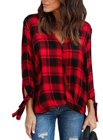 Astylish Women Casual Plaid V Neck 3 4 Long Sleeve Blouses and Tops Shirts: