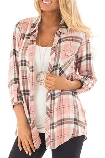 Jug&Po Womens Casual Cuffed 3 4 Long Sleeve Plaid Button Down Shirts Blouse Tops: