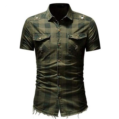 16. Sagton® T-Shirt for Mens, Men's Slim Fit Button Plaid Shirt with Pocket Short Sleeve: