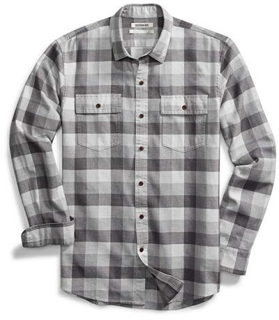 15. Goodthreads Men's Standard-Fit Long-Sleeve Plaid Herringbone Shirt: