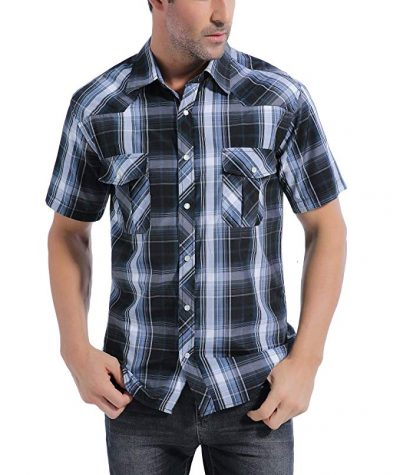 14. Coevals Club Men's Snap Button Down Plaid Short Sleeve Work Casual Shirt: