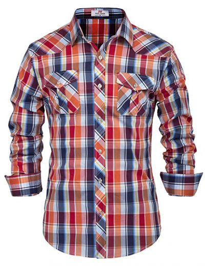12. PAUL JONES Men's Western Plaid Shirt Button Down Casual Shirt: