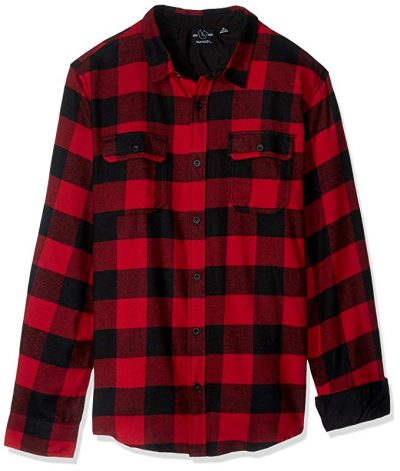 11. Burnside Men's Vector Buffalo Plaid Flannel Long Sleeve Shirt:
