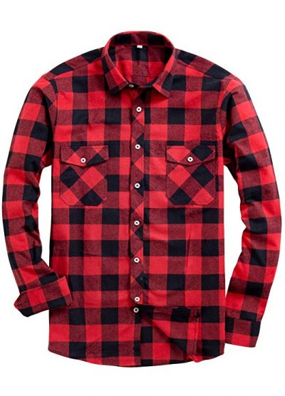 Alimens & Gentle Men's Button Down Regular Fit Long Sleeve Plaid Flannel Casual Shirts: