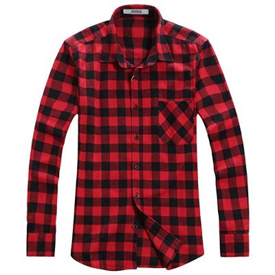 3. OCHENTA Men's Button Down Long Sleeve Plaid Flannel Shirt: