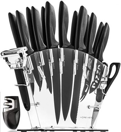3. Stainless Steel Knife Set with Block - 13 Kitchen Knives Set by HomeHero:
